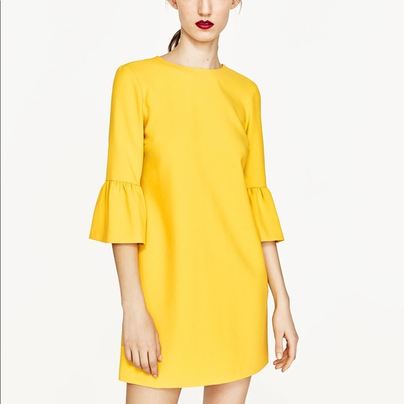 NWT Zara Yellow Frilled Bell Sleeve Mini Dress 013589726